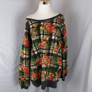 Umgee Floral Plaid Soft Sweatshirt oversized Green